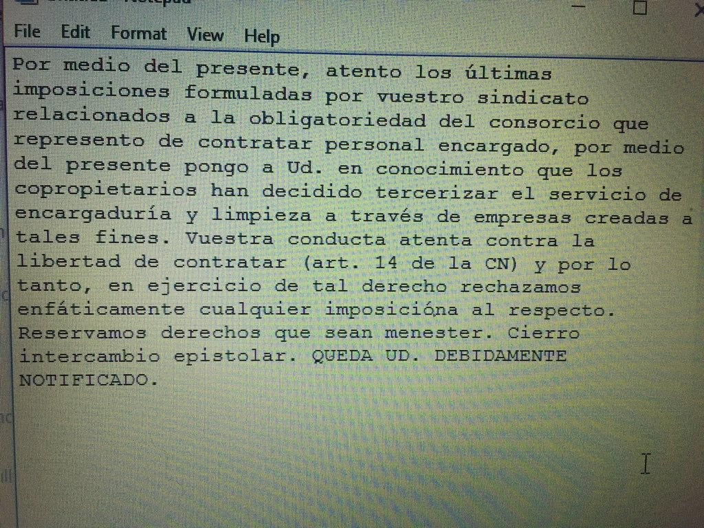 carta documento SUTERH