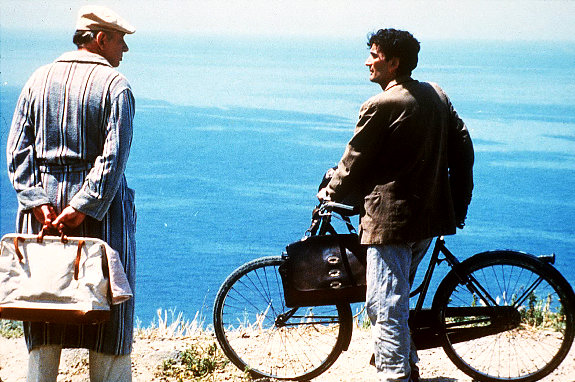 "FILE--Massimo Troisi, right, and Philippe Noiret appear in character in ""The Postman (Il Postino)."" The film was nominated for Best Picture in the 68th Annual Academy Awards announced in Los Angeles Tuesday, Feb. 13, 1996. The ceremony will be held Monday, March 25. (AP Photo/file)"