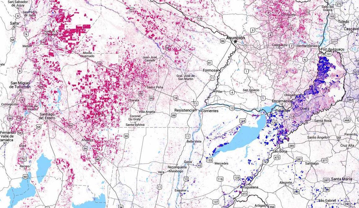 mapa de la deforestación